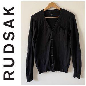 Rudsak men's black long sleeve cardigan size small